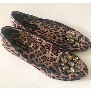 WHBM Leopard Jewel Top Slip On Shoes